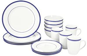 AmazonBasics 16 Piece Cafe Stripe Dinnerware Set  Blue  AllTrickz.jpg