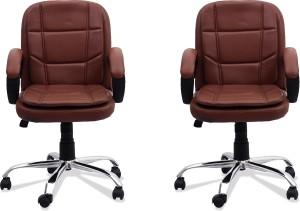 DZYN FURNITURES Leatherette Office Executive Chair Brown AllTrickz.jpg