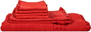 Eurospa Set of 7 Cotton Bath   Hand   Face Towel Set Red  SPDHFCB140MNS7  AllTrickz.jpg