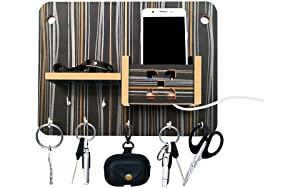 LINGAZ Key Holder Artworks Home Side Shelf Brown KeyHolder Black Wooden Key Holder  7 Hooks  AllTrickz.jpg