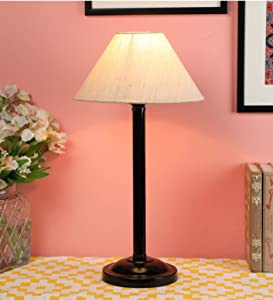 Ntu 126 Off White Cotton Shade Table lamp with Metal Base by tu casa Holder Type e 27  Bulb not Included  AllTrickz.jpg