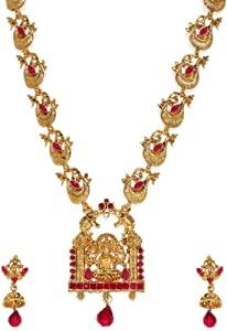 Zaveri Pearls Sacred Goddess Temple Necklace Set For Women ZPFK7685 AllTrickz.jpg