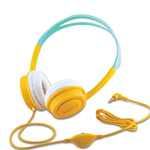 iBall Kids Diva Kids Safe Wired Headphone with in line Volume Controller Yellow and Light Blue AllTrickz.jpg