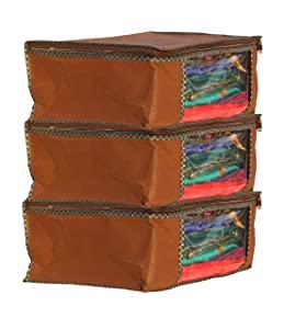 GLUN Non Woven Saree Cover Bag with Zip 3 Bag Combo Offer  Brown AllTrickz.jpg