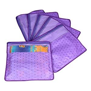 PrettyKrafts Saree Cover Set of 6 Polka dots with Top Transparent Window_Purple AllTrickz.jpg