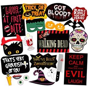 SYGA Set of 22 Halloween Party Photo Booth Props AllTrickz.jpg