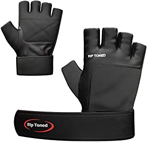 Weight Lifting Gloves by Rip Toned   Built In Wrist Wraps   Authentic Leather   Safety Support for Men and Women   Xfit Powerlifting Strength Training   Bonus Ebook Full Black Large AllTrickz.jpg