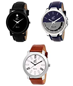 PIRASO Luxury Analogue Mens Watch Pack of 3  Multicolour Dial   Brown Colored Strap  PW3 2021 AllTrickz.jpg