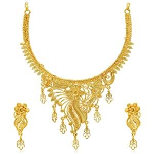 Sukkhi Lavish 24 Carat Gold Plated Floral Choker Necklace Set for Women  SKR67367  AllTrickz.jpg