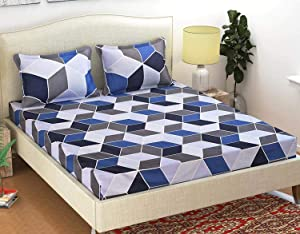 ENGUNIAS® King Collection Beautiful 3D Polycotton 154TC Double Bed Sized  90 X 90  Bedsheet with 2 Free Maching Pillow Covers Color   Blue  AllTrickz.jpg