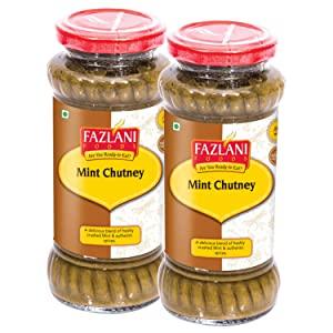 FAZLANI FOODS Ready to Eat Authentic Mint Green Chutney   Pack of 2  15 Servings Each  Glass Bottle AllTrickz.jpg