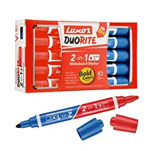 Luxor Duorite 2 in 1 Bullet Tip Whiteboard Marker   Bllue   Red   Pack of 10 AllTrickz.jpg