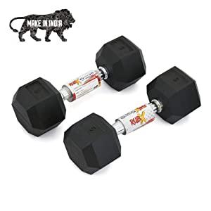 RUBX Rubber Coated Professional Exercise Hex Dumbbells  Pack of Two  AllTrickz.jpg
