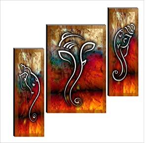 SAF 6MM Ganesha Set of 3 Panel Digital Reprint 12 inch x 18 inch Painting SANFJM1004 AllTrickz.jpg